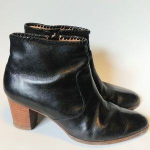 Jack Rogers black leather heeled ankle booties